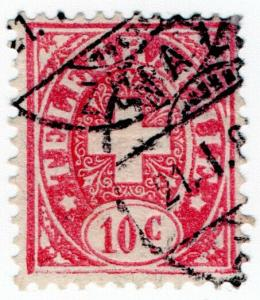 (I.B) Switzerland Telegraphs : 10c Rose & Pink (1881)