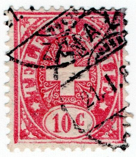 (I.B) Switzerland Telegraphs : 10c Rose & Pink (1881)
