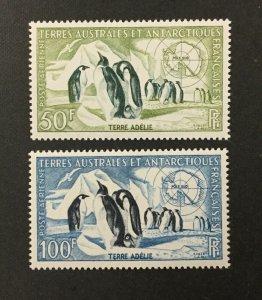 F.S.A.T. #C1-C2, 1956 set of 2, Penguins. VF, MNH. CV $77.50. (BJS)