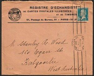 FRANCE 1932 1f50c on cover Paris to Western Australia......................15084