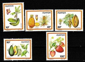 Rwanda 1987 Scott 1287-1291 Fruit MNH