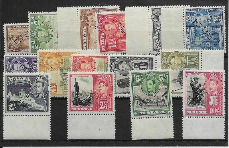 MALTA SG217s/31s 1938 DEFINITVE SET OF 15 PERF SPECIMEN MNH