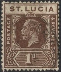 St. Lucia 78 (used) 4p George V, dark brown (1922)