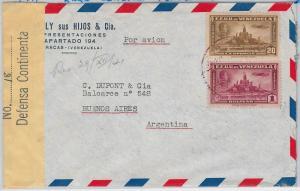 VENEZUELA -  POSTAL HISTORY -  AIRMAIL COVER to ARGENTINA 1941 with RARE CENSOR