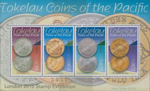 Tokelau 2010 SG414 Coins London Stamp Exhibition ovpt MS MNH