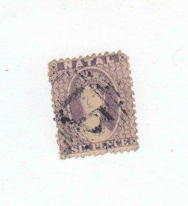 NATAL (MK2654)  # 16  F-USED  6p  1864 QUEEN VICTORIA / VIOLET CAT VALUE $38