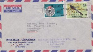 Singapore 50c Shama and Malaysia 25s Eleanor Roosevelt 1965 Singapore, M3 Air...