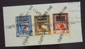 Fiume c1946 Croatia Italy Yugoslavia Revenue Stamps On Fragment  C6
