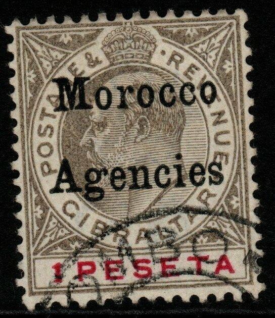 MOROCCO AGENCIES SG22 1905 1p BLACK & CARMINE USED