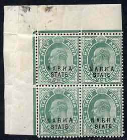 Indian States - Nabha 1903-09 KE7 1/2a green corner block...