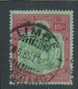 NYASALAND 1921-33 10s GREEN & RED/PALE EMERALD GU SG 113 CAT £120