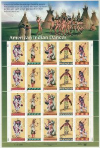 1996 U.S 32¢ American Indian Dance complete sheet of 20 MNH Sc# 3072 / 3076