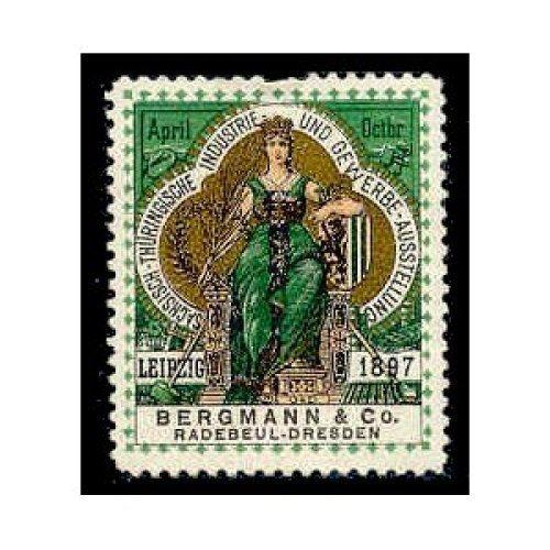 Germany 1897 Leipzig Expo Poster Stamp (B&C)