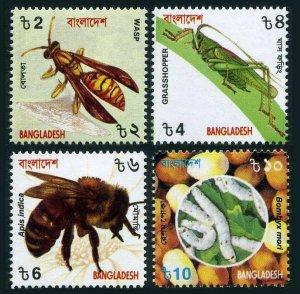 Bangladesh 608-611,MNH. Insects 2000.Wasp,Grasshopper,Apis indica,Bombux mori.