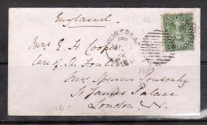 Canada #18a VF Used On Cover From Montreal To UK