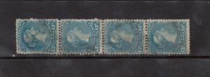 Canada #28 Used Strip Of Four