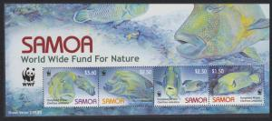 Samoa WWF Humphead Wrasse Strip of 4v with WWF Logo SG#MS1182 MI#1034-1037