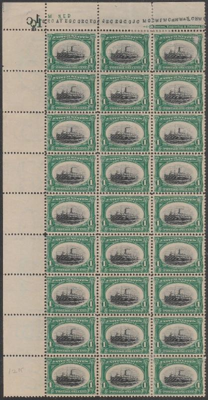 #294 F-VF OG (21)NH (6)HR SHEET OF 27 WITH IMPRINT AT TOP CV $1,044.00 HV7263