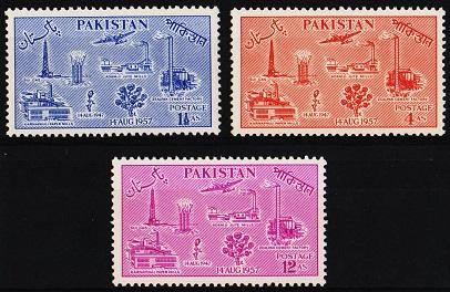 Pakistan. 1957 Complete Set(3v) Mounted Mint