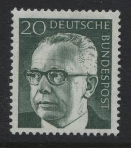 GERMANY. -Scott 1030 -Pres.G.Heinemann - 1970- MNH - Single 20pf Stamp