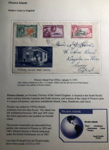 1952 Pitcairn Island Cover To Surrey England Post Office Cachet