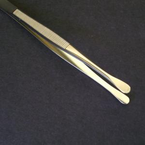 Showgard Tongs #905 Round Tip 4 5/8 Long With Brown or Red Plastic Case