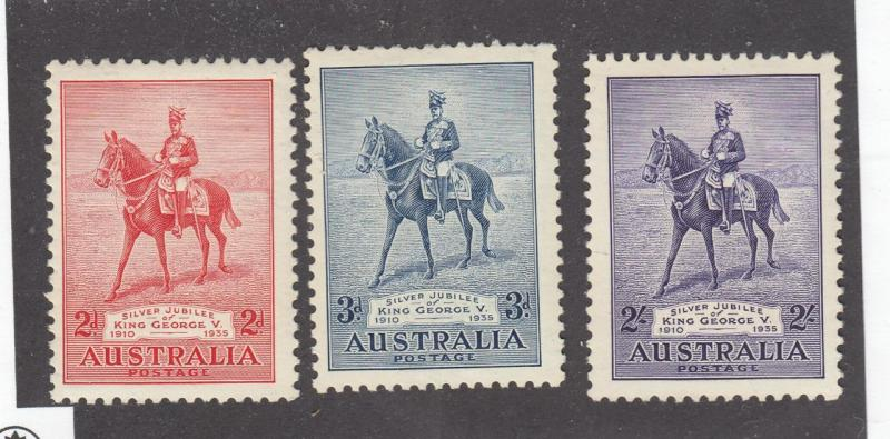 AUSTRALIA # 152-154 VF-MNH QE11 ON CHARGER CAT VALUE $99