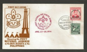 1954 Philippines Boy Scouts First National Jamboree FDC thermograph