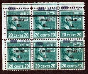 US #825 James Garfield Chicago, Ill 1938, 20c Block of 6 Precancel Issue