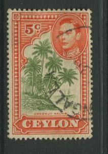 STAMP STATION PERTH: Ceylon #292a Used  1943  Single 5c Stamp