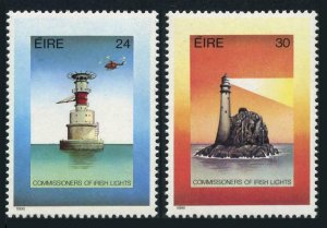 Ireland 667-668,MNH.Michel 601-602. Lighthouses 1986.Helicopter.