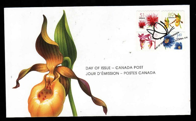 Canada-Sc#2128-31-stamps on FDC-Coils-Flowers-2005