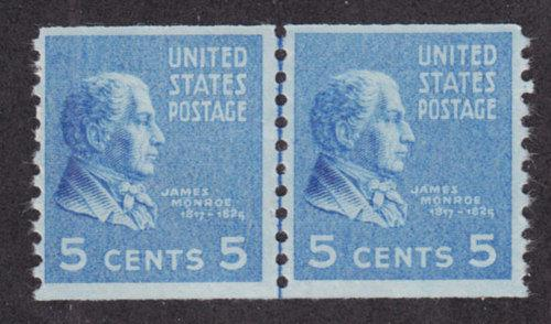 US Sc 845 MNH. 1939 5c Monroe Joint Line Coil Pair VF