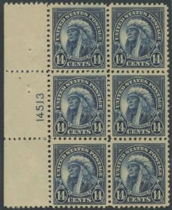 #565 PLATE NO. BLOCK OF 6 VF OG NH CV $130 BS1965