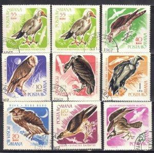 ROMANIA SC# 1899-1906  1967  BIRDS  SEE SCAN