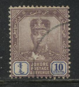 Johore 1921 10 cents used