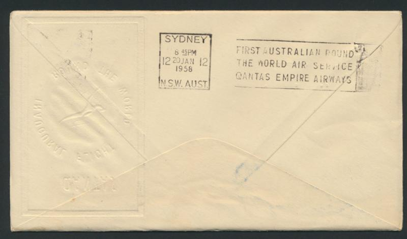 1958 Qantas First Round the World Flight Cover  AAMC 1386 SPECIAL - please re...