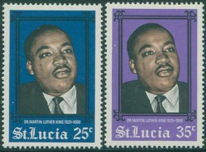 St Lucia 1968 SG250-251 Martin Luther King set MNH