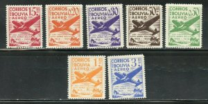 BOLIVIA AIRMAILS  SCOTT #C130/36 MINT HINGED--SCOTT VALUE $8.15