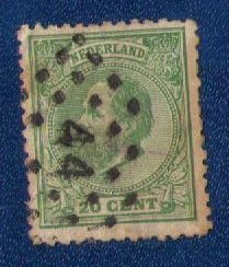 Netherlands Sc 28 Used 20c Green F-VF