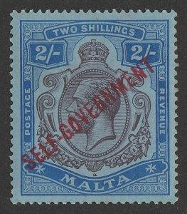 MALTA 1922 'SELF-GOVERNMENT' KGV 2/- purple & blue on blue, wmk mult crown.