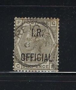 GREAT BRITAIN SCOTT #O6 1882-85 I.R. OFFICIAL 6P  (GRAY) - USED