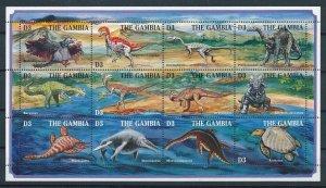 [107164] Gambia 1995 Prehistoric animals dinosaurs Marine life Sheet MNH