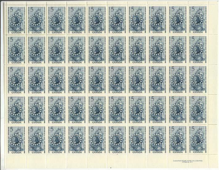 Canada - 1966 De La Salle UR Plate Sheet of 50 VF-NH #446