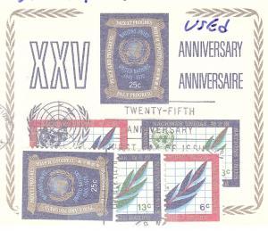 United Nations, 209-12, 25th Anniv. UN, USED Singles & S/S