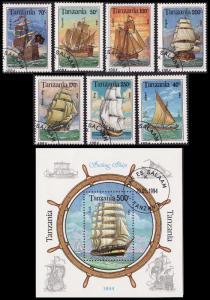Tanzania Sailing Ships 7v+MS CTO SG#1791-1798 MI#1739-1745+Block 244