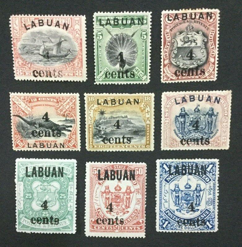 MOMEN: LABUAN SG #129-137 1904 MINT OG H LOT #194334-2588