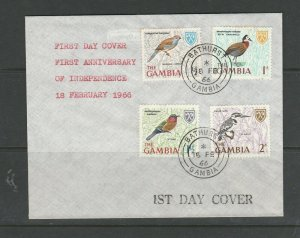 Gambia FDC 1966 Bird Defs, 1/2d - 2d, cacheted, Bathurst cds, Unaddressed