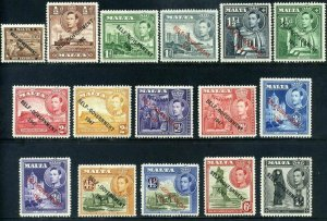 Malta 1948 KGVI Self Government SG234-243 Part set Mounted Mint x16 stamps