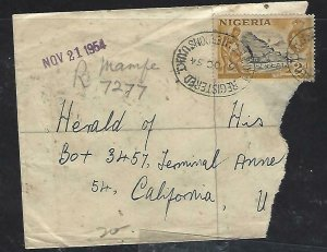 NIGERIA CAMEROONS COVER (PP1510B) QEII 1954 PART COVER TREG MAMFEE TO USA